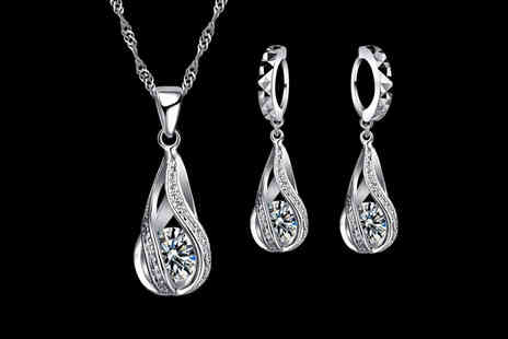 Your Ideal Gift - Sterling silver geometric crystal drop set - Save 0%