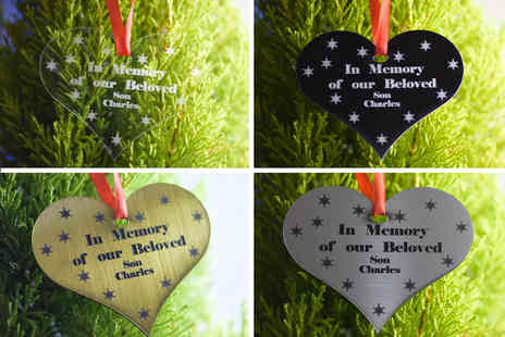Engraving Brothers - Personalised heart Christmas decoration choose your colour - Save 58%