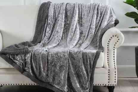 Groupon Goods Global GmbH - Crushed Velvet Sherpa Reverse Throw - Save 0%