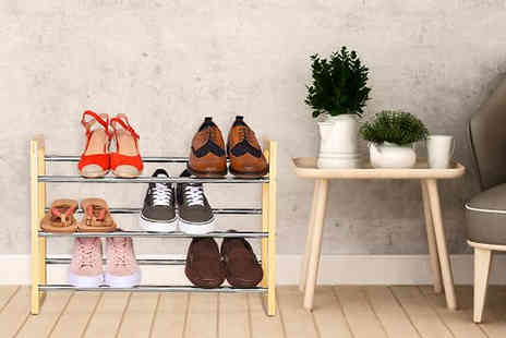 Fusion - 2, 3 or 4 Tier Extendable Shoe Rack Choose from 3 Colours - Save 57%