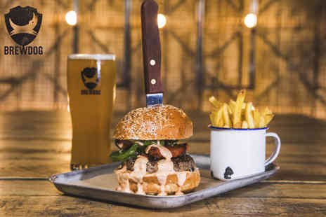 BrewDog - Burger and fries with a pint of headliner beer or a glass of wine for one person - Save 53%