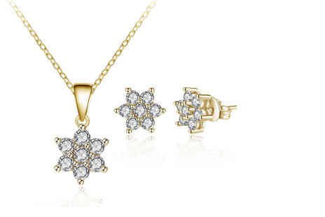 Your Ideal Gift - Gold crystal flower jewellery set - Save 0%