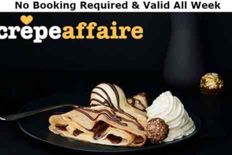 Crepeaffaire - Sweet or Savoury Crepe with Smoothie or Milkshake for Two - Save 47%