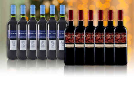 Qregalo - 12 bottles of Tempranillio La Mancha wine and Crianmza D.O Valdepenas - Save 69%