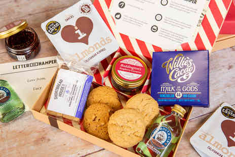 Just Letter Box Hampers - Best of British Hamper including Plymouth Original Gin, snacks and a personalised card - Save 28%