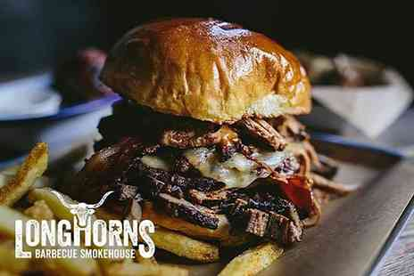 Longhorns Barbecue Smokehouse - Burger and sides for two - Save 47%