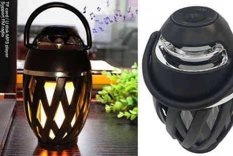 Secret Plums - 2 in 1 Flickering Table Lantern With Bluetooth Speaker Choose from 1 or 2 - Save 64%