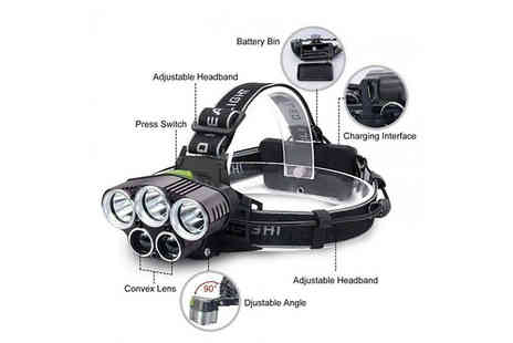 Secret Plums - Rechargeable Waterproof Led Headlamp With 50,000 Lumen - Save 50%