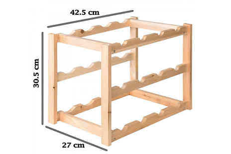 Fusion - 2 or 4 Tier Wooden Wine Rack Choose from 2 Colours - Save 78%