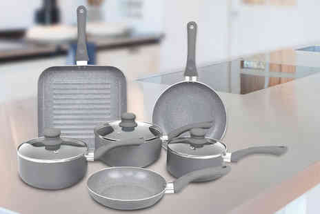 Eurotrade - Nine piece aluminium induction grey marble effect pan set - Save 0%