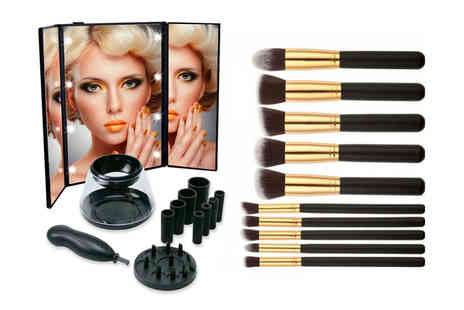 WowWhatWho - Bundle of 10 makeup brushes, an Led mirror and an electric brush cleaner choose from three colours - Save 83%