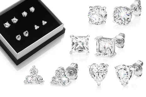Silver Supermarket - Four pairs of earrings made with crystals from Swarovski - Save 63%
