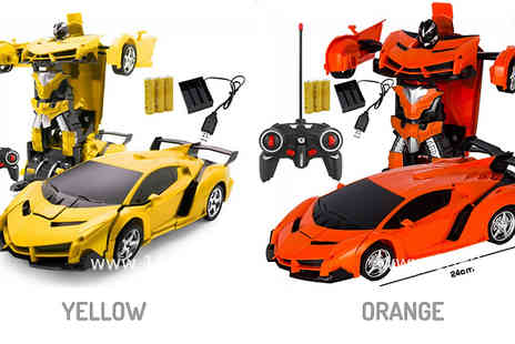 WowWhatWho - 2 in 1 Remote Control Transforming Car and Robot Toy Choose from 5 Colours - Save 70%