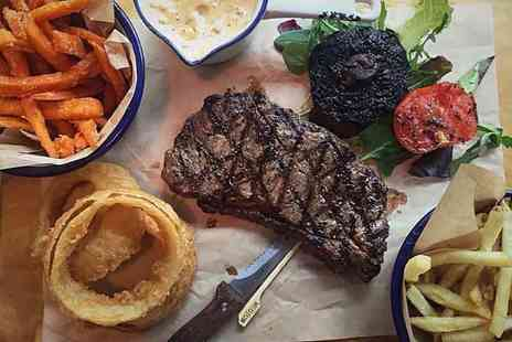 Longhorns Barbecue Smokehouse - Steak and sides for two people with a drink each - Save 45%