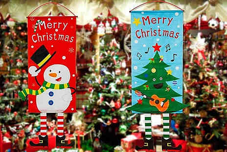 Wish Whoosh Offers - Hanging Christmas Flag Decoration Choose from 6 Styles - Save 75%