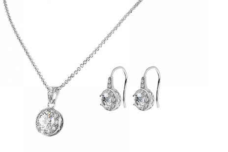 Your Ideal Gift - Solitaire pendant and drop earrings set - Save 91%