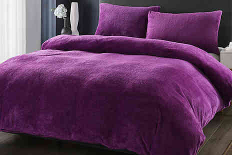 Fusion - Teddy Fleece Duvet and Pillowcase Set Choose from 6 Colours and 4 Sizes - Save 83%
