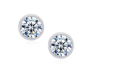 Sreema London - 925 sterling silver solitaire bezel AAAAA CZ stud earrings - Save 40%