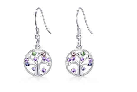 Philip Jones - Pair of silver Chakra tree of life drop earrings made with crystals from Swarovski - Save 56%