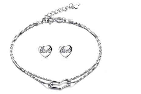 Sreema London - 925 sterling silver continuous open heart bracelet and studs set - Save 60%