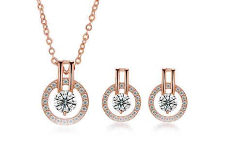 Your Ideal Gift - Rose gold plated necklace and earrings set - Save 90%