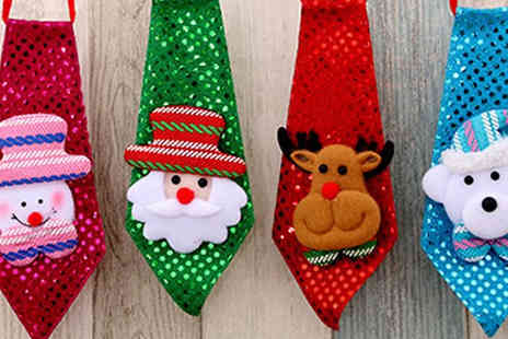 Wish Whoosh Offers - 4 Pack of Light Up Christmas Sequin Ties - Save 75%