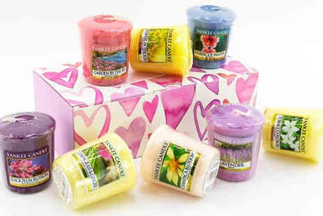 Yankee Bundles - 8 Yankee Candle Votives with Heart Gift Box Plus Votive Holder - Save 40%