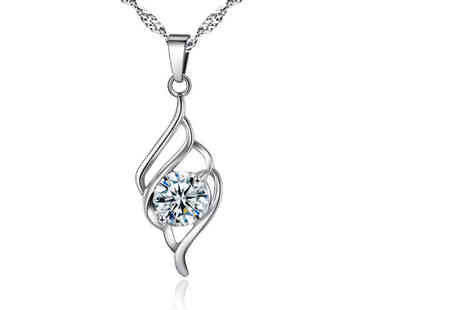 Your Ideal Gift - Solitaire crystal swirl pendant made with crystals from Swarovski - Save 86%