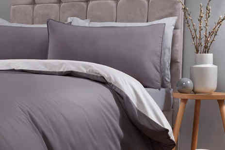Five Minutes More - Single piped edged reversible duvet cover set choose your size and colour - Save 70%