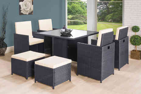 Dining Tables - Eight seater rattan cube garden set choose from two colours - Save 73%