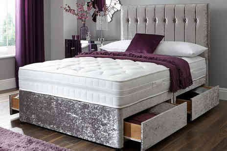 FTA Furnishing - Crushed velvet divan bed choose from two colours - Save 75%