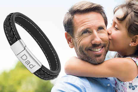 Gemnations - Black leather bracelet with Dad engraving - Save 87%