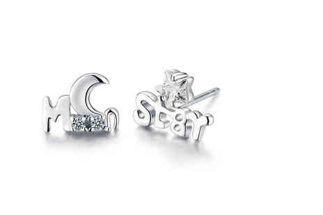Sreema London - 925 sterling silver moon and star design stud earrings - Save 36%