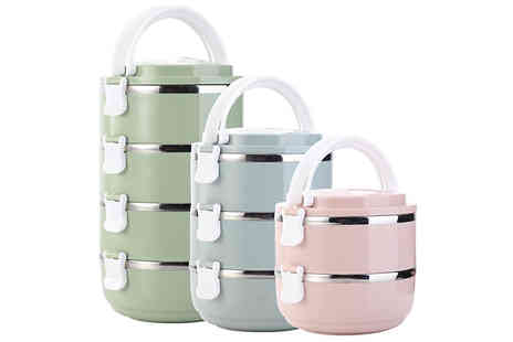 Secret Plums - Multi Layer Insulated Stainless Steel Lunch Box Choose from 3 Colours - Save 80%