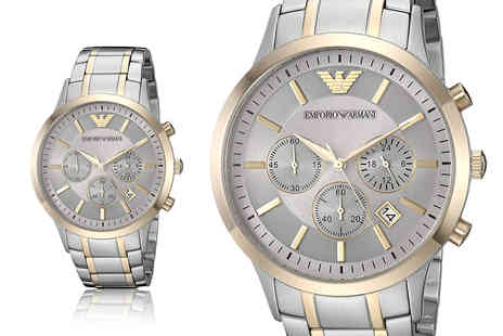 Hip Watches - Emporio Armani AR11076 mens two tone chronograph bracelet watch - Save 64%
