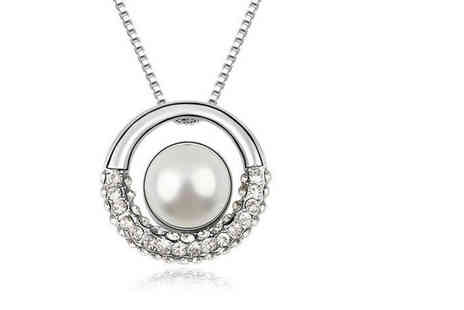Your Ideal Gift - Rhodium plated pearl ring pendant made with cubic zirconia crystals - Save 0%