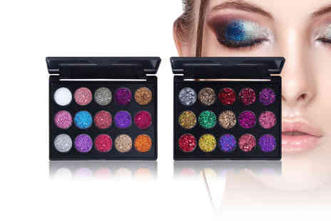 Litnfleek - Travel size 15 colour diamond glitter eyeshadow palette choose from two styles - Save 88%