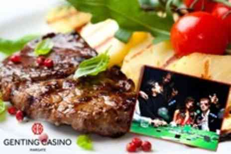 Genting Casino Margate - Steak Dinner, Cocktails and Bottle of Wine Plus Lesson For Two - Save 62%
