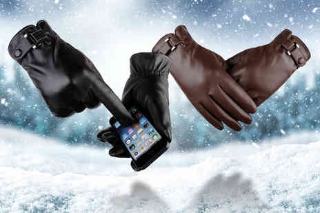 My Brand Logic - Pair of touch screen winter warm PU gloves choose your style and colour - Save 65%