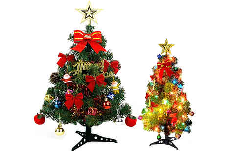 Domosecret - Mini Artificial Christmas Tree with 20 Led Lights Available in 3 Sizes - Save 80%
