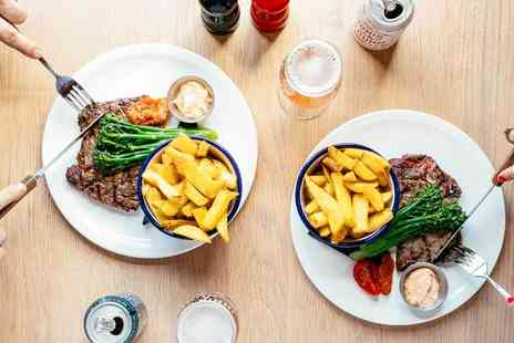 Innis & Gunn - Two course steak dining for two people with a side to share and a glass of wine or beer each - Save 54%