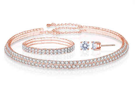 Your Ideal Gift - Rose gold double row tri set made with crystals from Swarovski - Save 91%