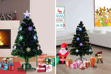 Mhstar - 3ft artificial fibre optic Christmas tree with snowflake lights - Save 47%