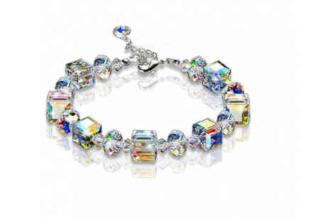 Your Ideal Gift - Crystal bead cube multi coloured bracelet - Save 84%