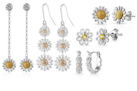 Philip Jones - Pair of daisy earrings choose from five designs - Save 73%