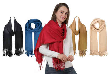Pearl Fashion - Womens pashmina tassel scarf choose from five colours - Save 85%