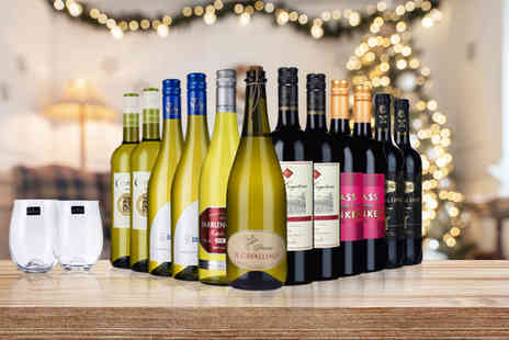Laithwaites - Set of 12 bottles of wine and two glasses choose from three options - Save 60%