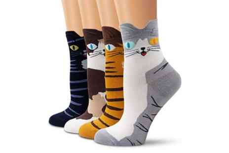 Groupon Goods Global GmbH - Four or Eight Pairs of Cotton Cat Socks - Save 60%