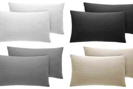 Groupon Goods Global GmbH - Pair of 300TC Egyptian Cotton Satin Stripe Pillow Cases - Save 0%