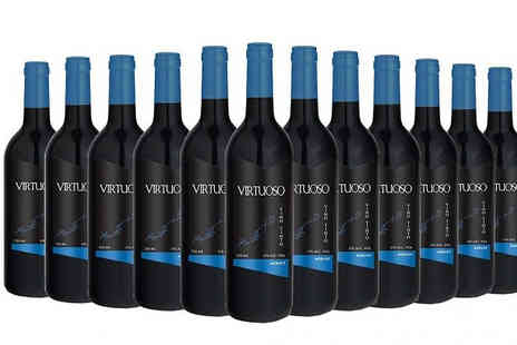 MGB Lifestyles - 12 Bottles of Luxury Virtuoso Red Wine Choose from Merlot, Pinot Noir, Syrah or Sauvignon - Save 64%